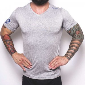 Bullywear Super Dry V Neck Short Sleeved T Shirt Grey/Royal Blue DRYVN3