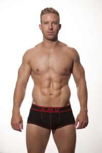 AMU Modal Medium Leg Boxer Underwear Black