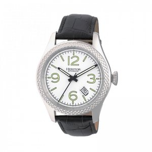 Heritor Automatic Barnes Leather-Band Watch w/Date - Silver ...