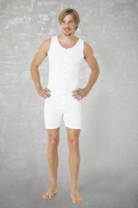 Doreanse Button Down Tank Top Boxer Bodysuit White 5002
