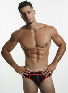 Pump! Uppercut Brief Underwear Black/Red 12034