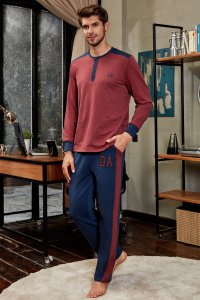 Doreanse Henley Contrast Long Sleeved T Shirt & Side Stripe Pants Set Loungewear 4549
