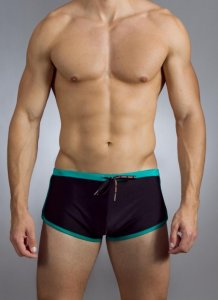Baskit Outline S Block Squre Cut Trunk Swimwear Black/Green ...