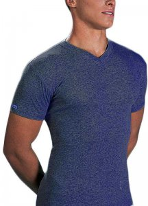 Lord Melange V Neck Short Sleeved T Shirt Jean Blue 234