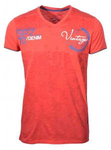 Spazio Adred V Neck Short Sleeved T Shirt Red T-4008