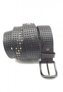 Spy Henry Lau Studs & Hole Leather Belt Black SP788AC78OFTHK