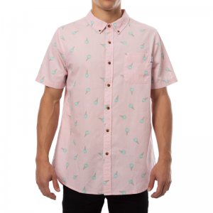 Party Pants Milky Button Down Short Sleeved Shirt Pink PS191093