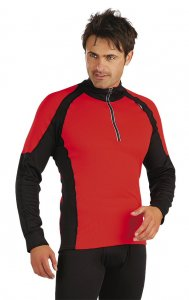 Litex Two Tone Insert Zip Neck Sweater Red 70022