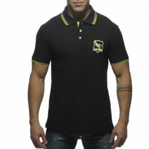 ES Collection Slim Fit Embroidered Polo Short Sleeved Shirt Black POLO07