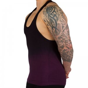 Ava-j Vest Tank Top T Shirt Dip Dyed Potent Purple