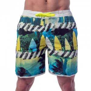 Lord Tropical Stripes Boardshorts Beachwear Yellow MA002