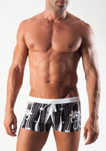 Geronimo Square Cut Trunk Swimwear Black 1503B1-1