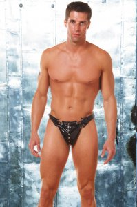 Allure Men's Underwear Vinyl Lace Up Thong 24-1227