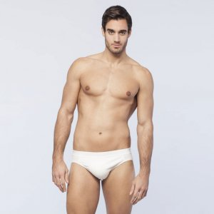 Minerva [2 Pack] Comfort 2 Slip Outside Rubber Brief Underwear White 21032
