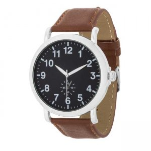 J. Goodin Leather Strap Classic Wrist Watch Brown/Silver/Black TW-14810
