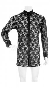 Menagerie Button Up Lace Long Sleeved Shirt Black