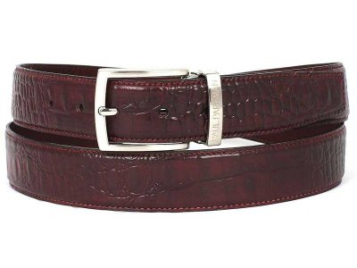 Paul Parkman Crocodile Embossed Calfskin Belt Dark Bordeaux ...
