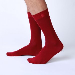 Bonne Cle Gentlemen's Club Charlie Classic Socks Burgundy