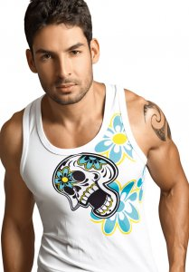 Clever Skull & Roses Tank Top T Shirt White 7008