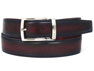 Paul Parkman Two Tone Leather Belt Navy & Bordeaux B01-NVY-B...