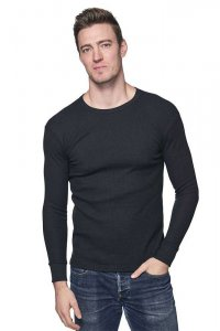 Royal Apparel Unisex Heavyweight Thermal Long Sleeved T Shirt Black 28152