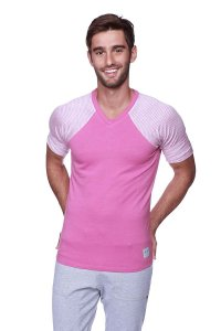 4-rth Raglan Virtual Crew Neck Stripe Short Sleeved T Shirt Berry/Pink/Grey