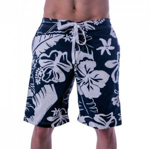 Lord Hibiscus Boardshorts Beachwear Blue/White MA009