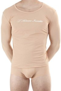 L'Homme Invisible Logo Long Sleeved T Shirt Nude Skin MY74-SEN-S00