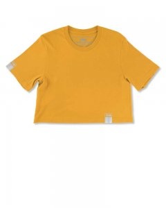 The Well Branded 100% Soft Airlume Cotton NYC Fashion Week Color Crop Top Short Sleeved T Shirt Saffron