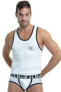 L'Homme Invisible Gym Singlet Tank Top T Shirt White SP43-CON-002
