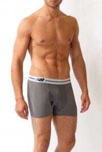 New Balance Performance Sport Trunk White Waistband Boxer Brief Underwear Grey NB70903TK