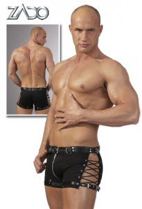 Zado Belt Buckle & Side Lace & Zip Boxer Brief Underwear Black 0256200-0000
