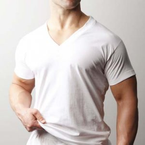 [2 Pack] Players Tall Men's 100% Cotton V Neck Short Sleeved T Shirt White 600