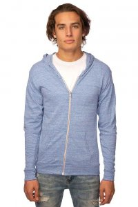 Royal Apparel Unisex Eco Tri Jersey Full Zip Hoody Long Sleeved Sweater Eco Tri Royal 32550