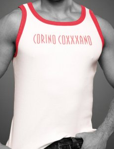 Coxxxano Sporty Piping Logo Tank Top T Shirt White/Red 40578...