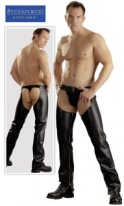 Svenjoyment Chaps With G String Black 2140055