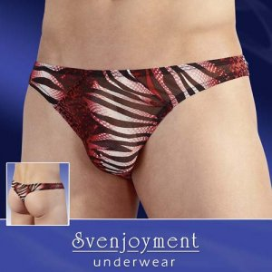 Svenjoyment Animal Powernet Rio Thong Underwear Red/Black/White 2110229