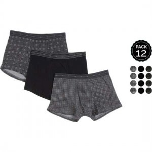 Marginal [12 Pack] Assorted Boxer Brief Underwear Black & Printed T002-4