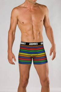 Grundies Stripe Boxer Brief Underwear Rainbow