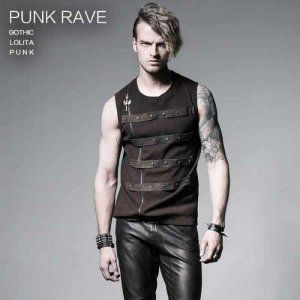 Punk Rave Steampunk Skull Zipper Ribbed Muscle Top T Shirt Coffee T-357