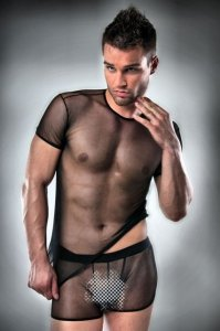 Passion Lingerie Sheer Short Sleeved T Shirt & Boxer Brief Black 017