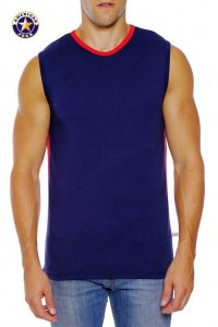 Go Softwear A J Complete Muscle Top T Shirt Navy/Red 8754