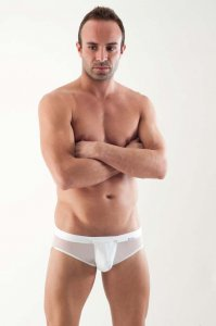 Geronimo Detachable Pouch Mesh Brief Underwear White 1361S2