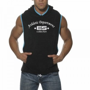 ES Collection Sleeveless Towel Hoody Sweater Black/Turquoise...