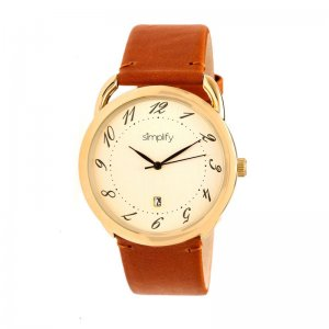 Simplify The 4900 Leather-Band Watch w/Date - Gold/Gold/Camel SIM4903