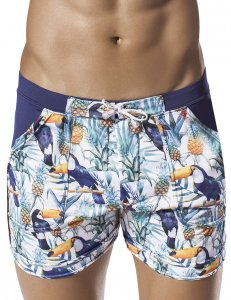 Clever Toucan Beach Square Cut Trunk Swimwear Blue 0600