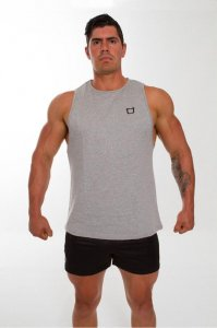 Twotags Solid Muscle Top T Shirt Grey