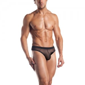 Excite Contrast Trim Mesh Thong Underwear Black EE08