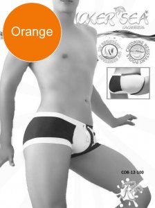 Icker Sea Chess Duotone Square Cut Trunk Swimwear Orange/Whi...