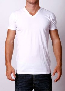 By The People Premium Basic V Neck Short Sleeved T Shirt White